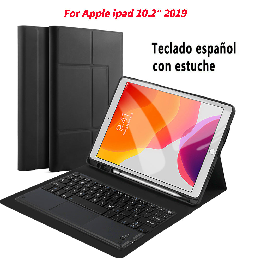 iPad 10.2 2019 Case with Keyboard for Apple Tablet Leather Cover Black (Franch Keyboard)