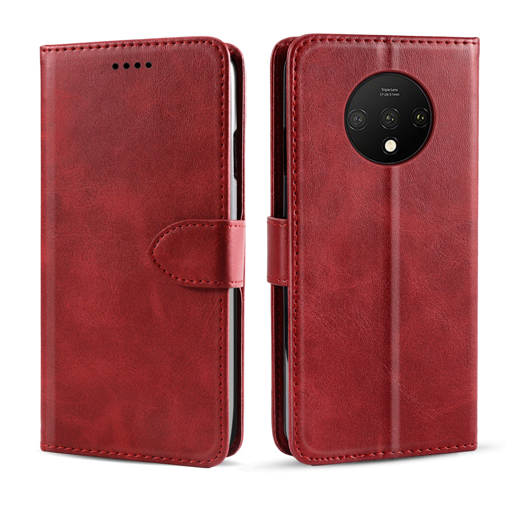 Oneplus 7T Wallet Case Flip Leather Case with Card Slot Magnetic Closure Red