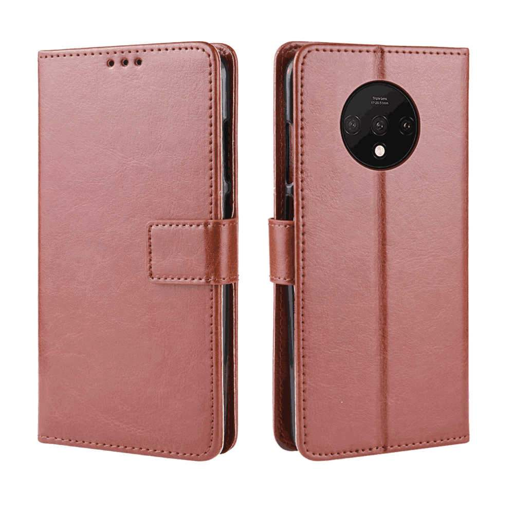 Oneplus 7T Leather Case with Card Holder Precise Camera Cutouts Phone Shell Brown