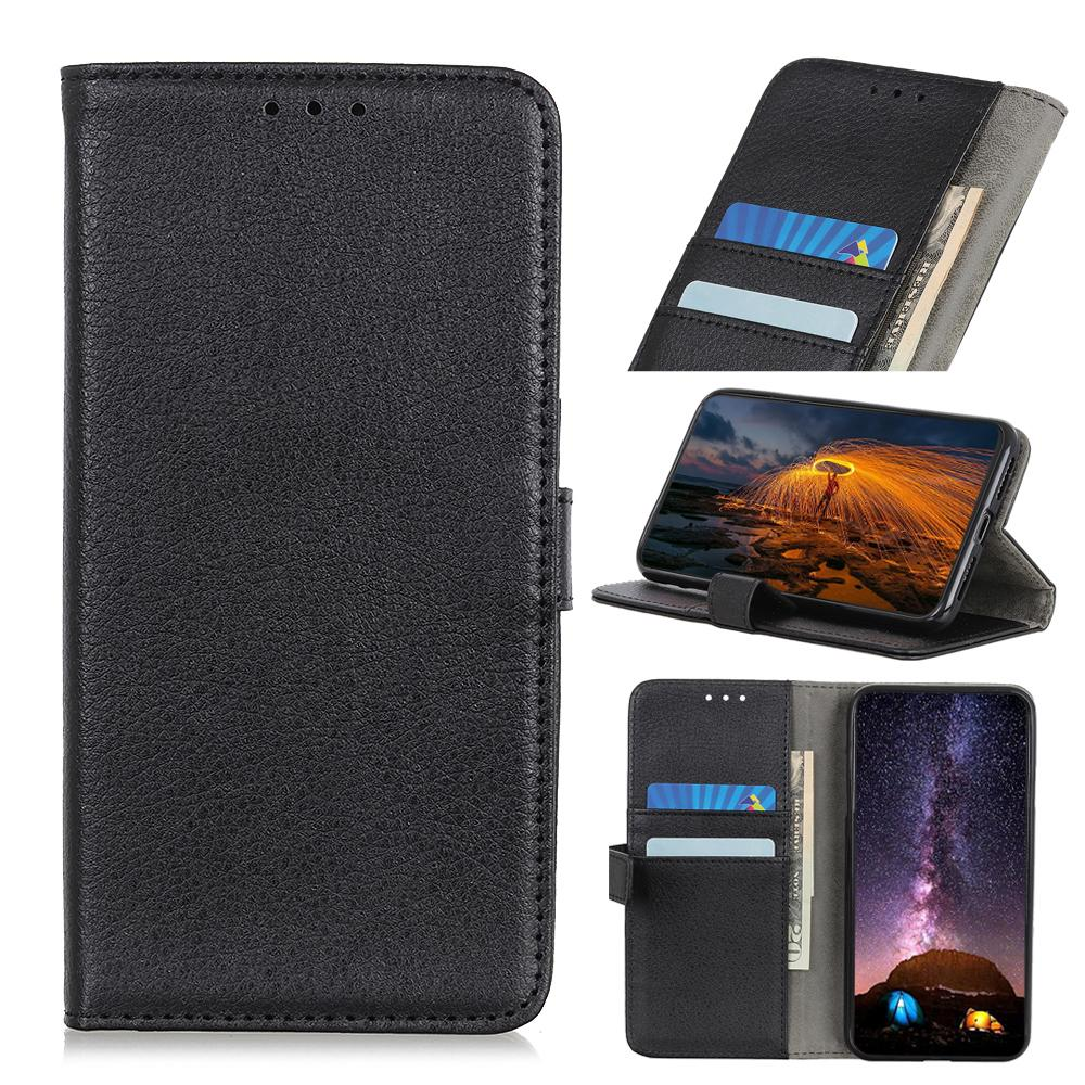 Leather Case for Pixel 4 Classic Wallet Folding Flip Case with Kickstand Card Holder Protective Cover Black
