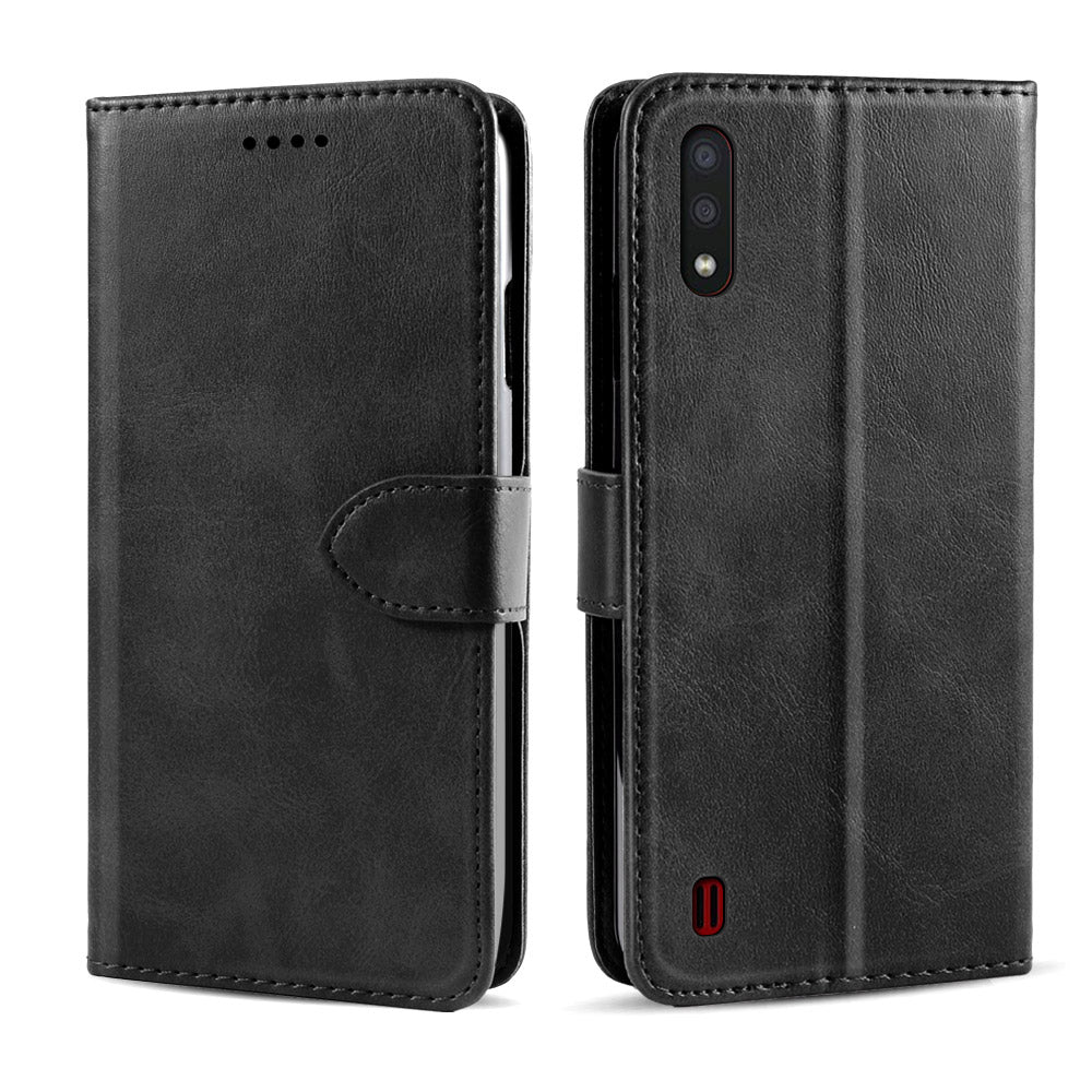 Samsung Galaxy A01 Case Magnetic Closure Credit Card Slot Slim PU Leather Wallet Cover Black