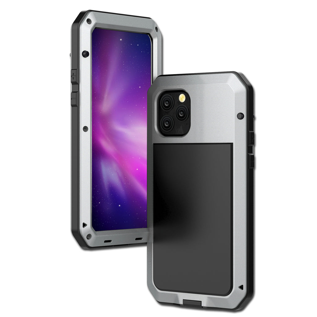 iPhone 11 Case Heavy Duty Metal Bumper Protective Case with Built-in Screen Protector Silver