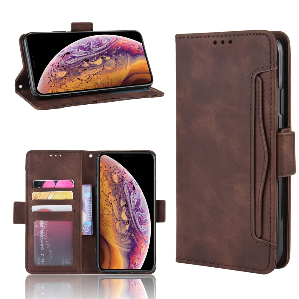 iPhone 11 Wallet Case with 5 Card Holder Slots Leather Flip Case Brown