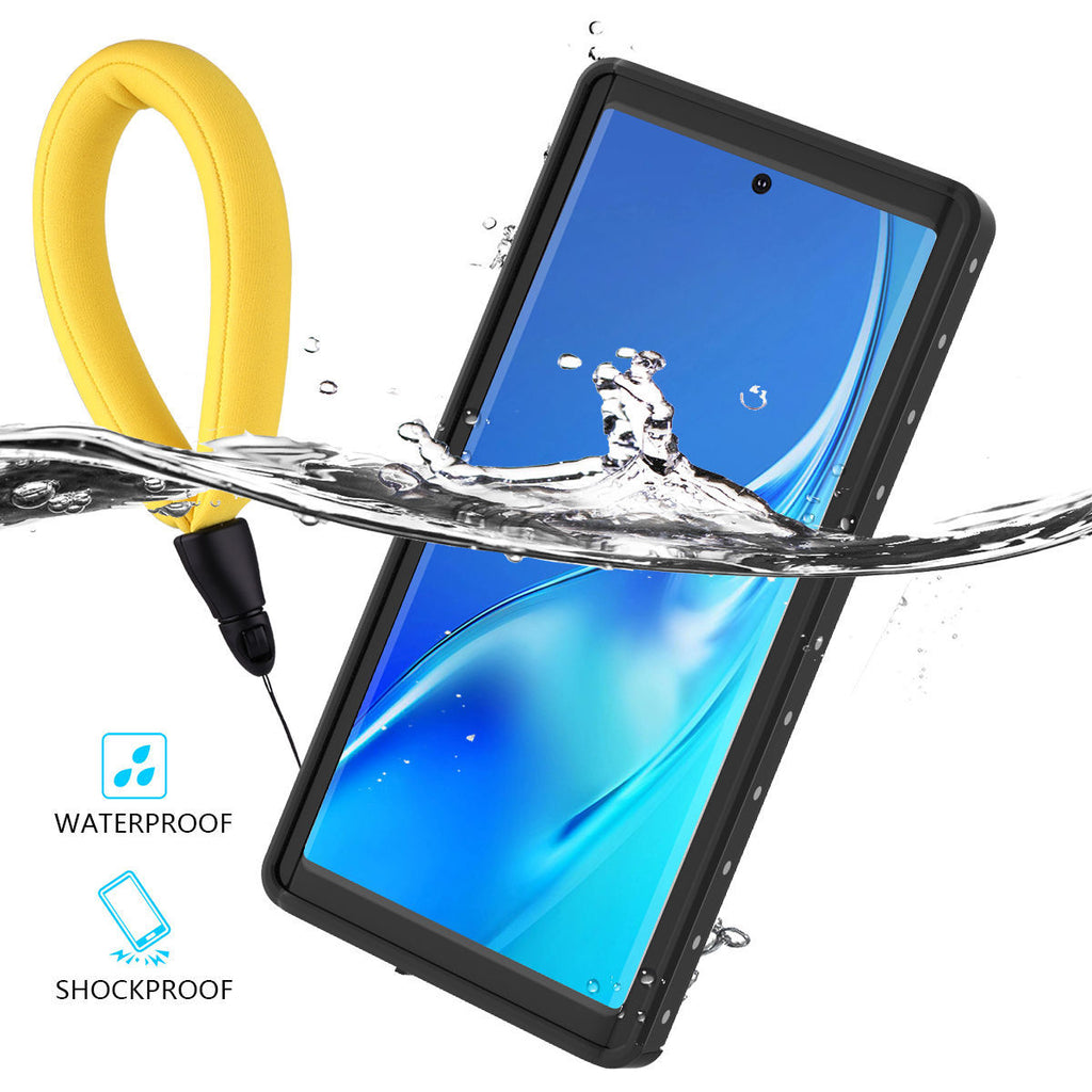 Galaxy Note 10 Waterproof Case IP68 Underwater Cover Built-in Screen with Floating Strap Black