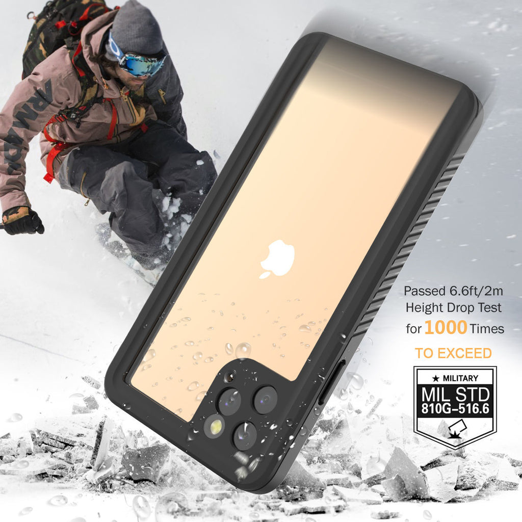 Waterproof Case for iPhone 11 Pro Max with Built-in Screen Rugged Hybrid Underwater Cover Black
