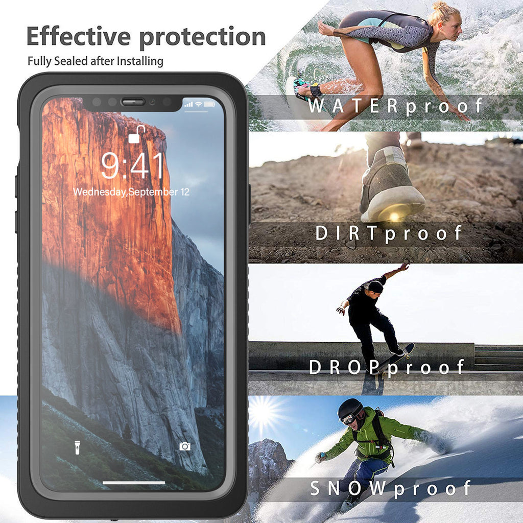 iPhone 11 pro max Waterproof Case Shockproof Case with Built-in Screen Protector & Floating Strap