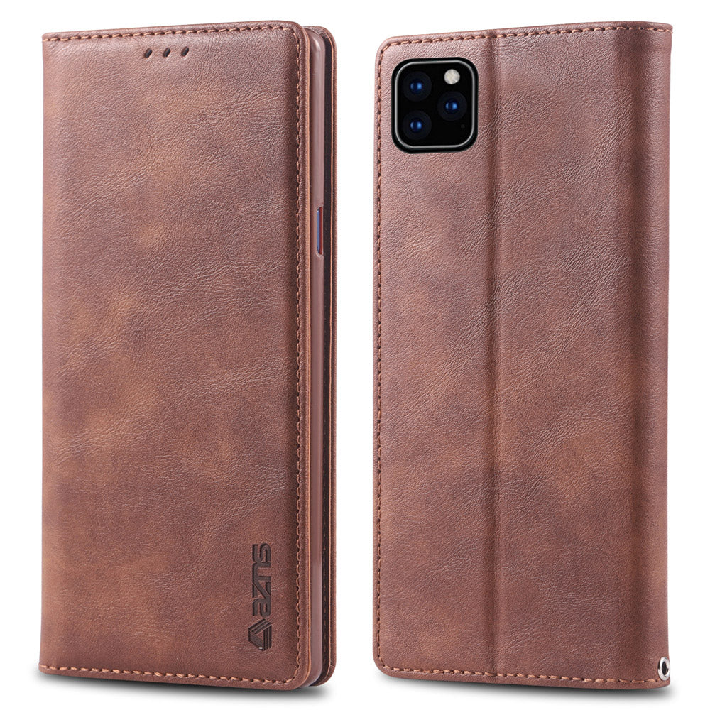 iPhone 11 Wallet Case Leather Flip Case Folio Cover with Card Holder Slots Brown