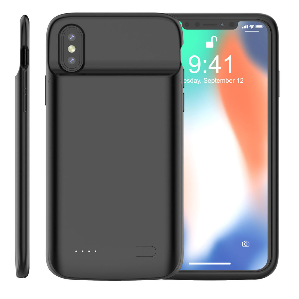 iPhone X iPhone Xs Battery Charging Case 4100mah Extended Battery Protection Case Black