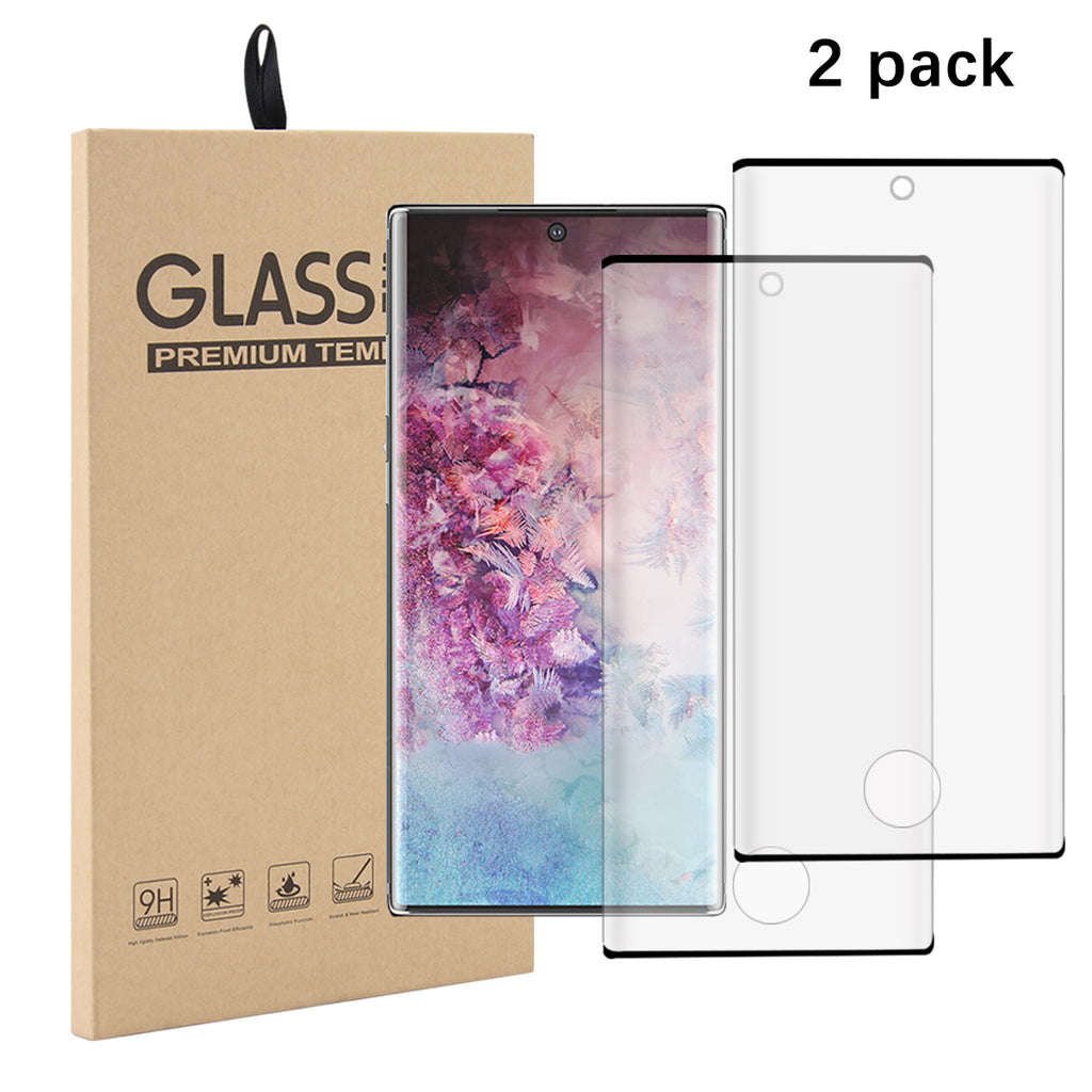 Crystal Clear Tempered Glass Screen Protector Galaxy Note 10 plus 9H Hardness 2Pack