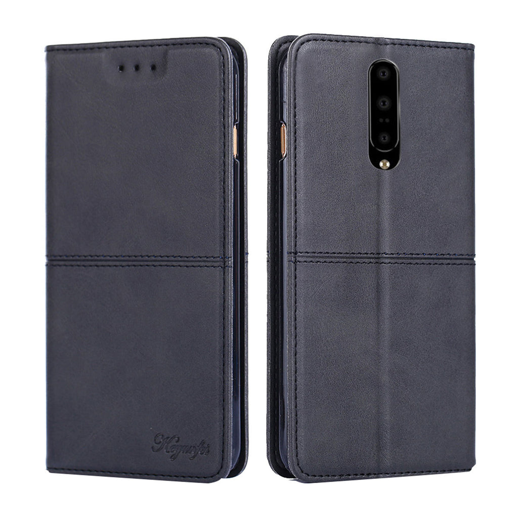 Oneplus 7 Pro Wallet Case with Card Slots Flip Stand Magnetic Closure Black