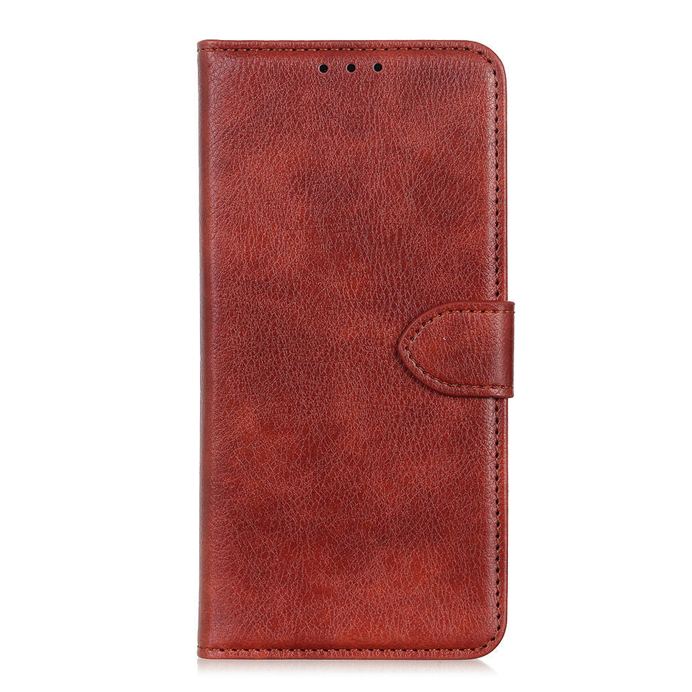 Oneplus 7 Case PU Leather Wallet with Viewing Stand and Card Slots Brown