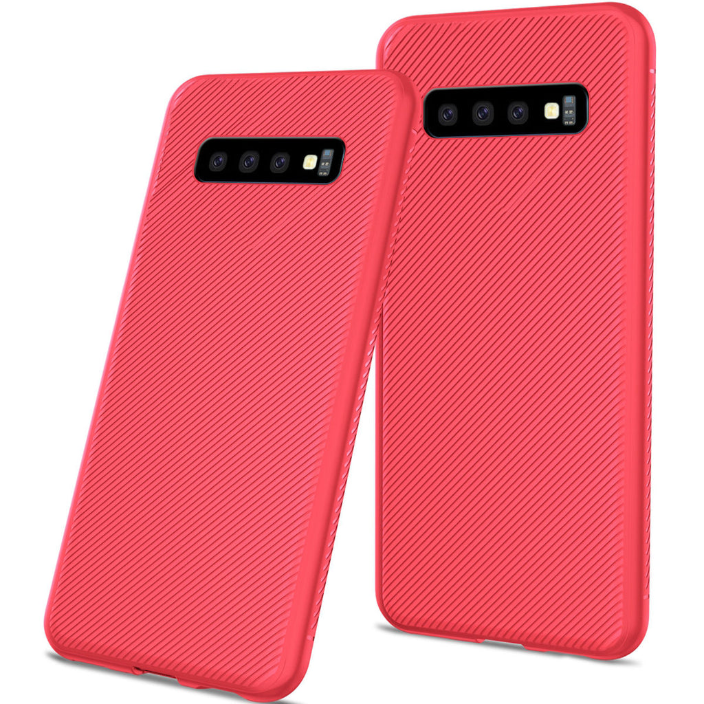 Samsung Galaxy S10 Plus Leather Case Zipper Wallet Design Flip Stand Cover with Card Slots Red