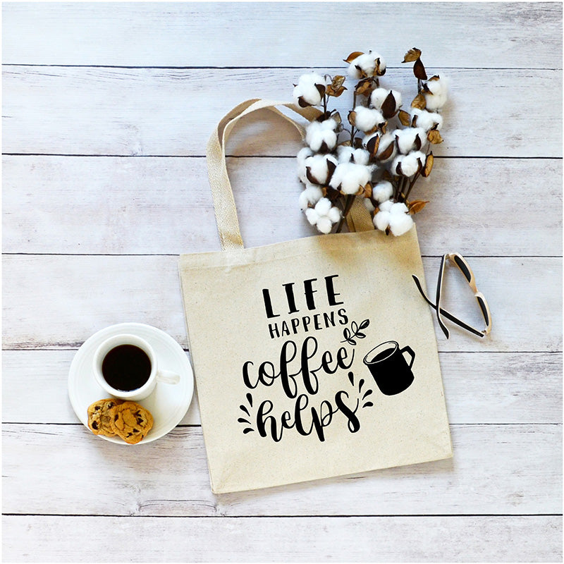 Life Happens Coffee Helps Canvas Tote