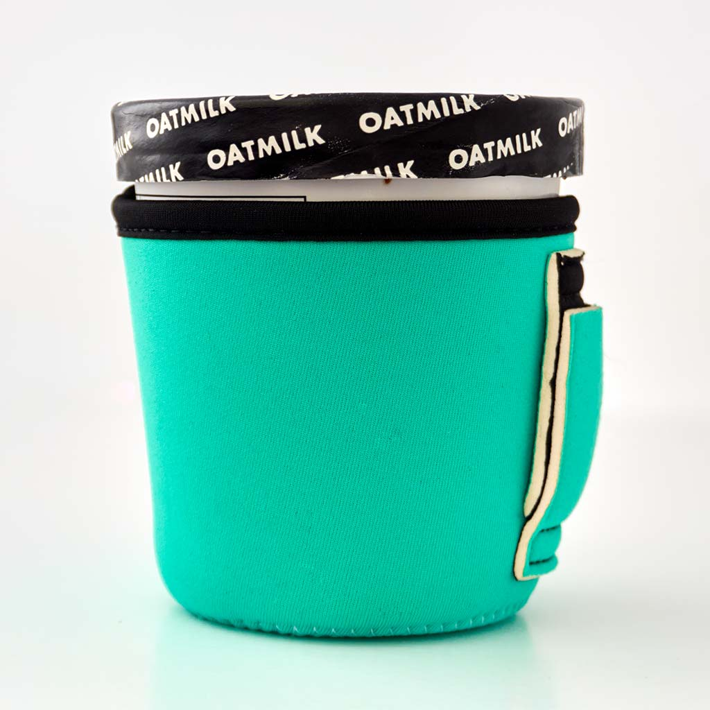Solid mint color neoprene pint ice cream holder.