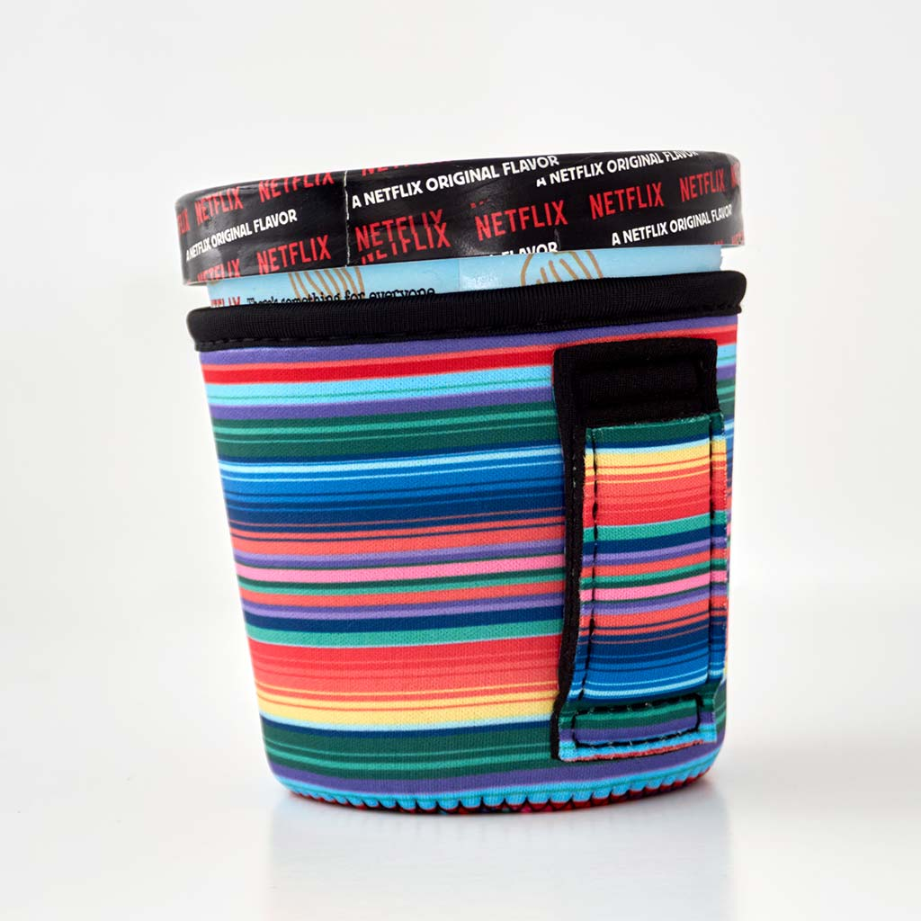 Rainbow stripe patterend neoprene pint size ice cream holder.