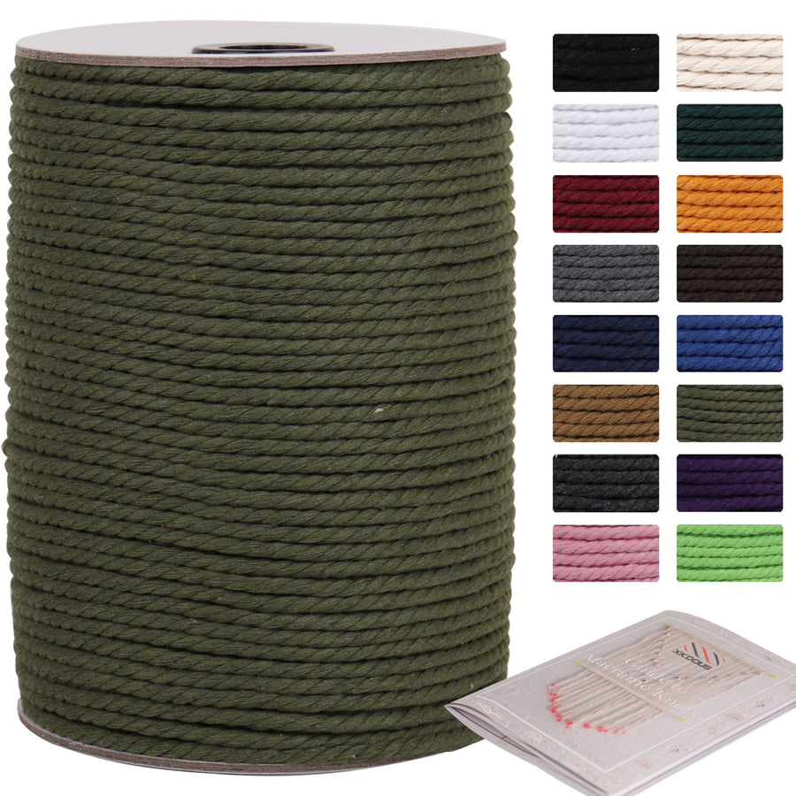 4mm Olive Green Cotton Macrame Cord