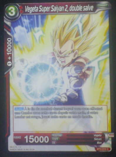 carte Dragon Ball Super Card Game Fr Part 2 BT2-010C Vegeta Super Saiyan 2, double salve bandai 2018