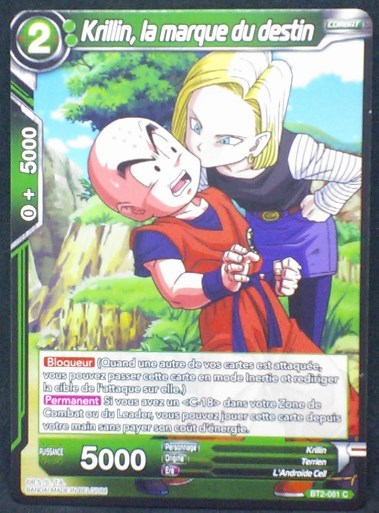 carte Dragon Ball Super Card Game Fr Part 2 BT2-081C Krillin, la marque du destin bandai 2018