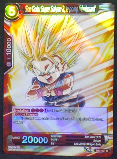 carte Dragon Ball Super Card Game Fr Part 3 BT3-004R Son Goku Super Saiyan 2, le poing fremissant bandai 2018