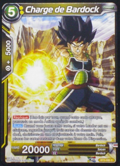 carte Dragon Ball Super Card Game Fr Part 3 BT3-086C Charge de Bardock bandai 2018