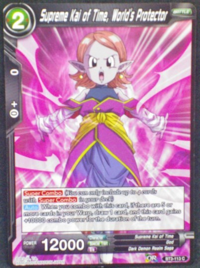 carte Dragon Ball Super Card Game Us Part 3 BT3-113 C (us) bandai 2018 Supreme Kai Of Time, World's Protector