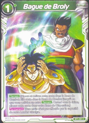 carte dragon ball super BT1-081 C fr bandai 2018 bague de broly