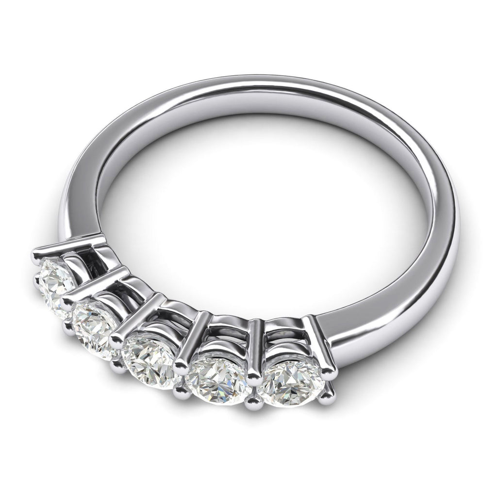 Solid Sterling Silver Eternal Five Stones Anniversary Ring Simulated Brilliant Diamonds Eternity ring 1.25ctw for Women