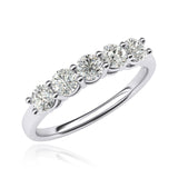 14k White Gold Eternal Five Stones Anniversary Ring Simulated Brilliant Diamonds Eternity ring 1.25ctw for Women