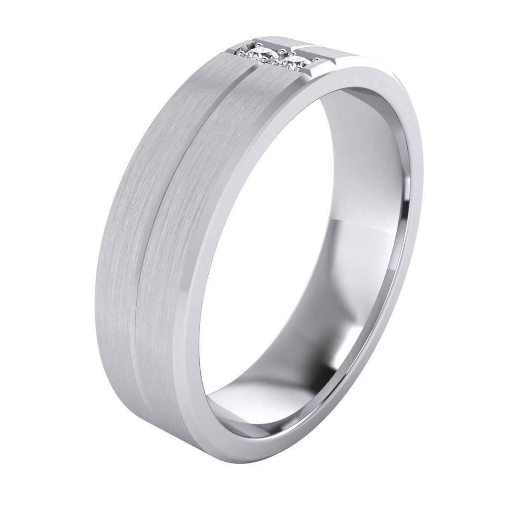 Heavy Sterling Silver 6mm Unisex Wedding Band Simulated Diamonds Ring Comfort Fit Grooved Brushed Bevelled Edges