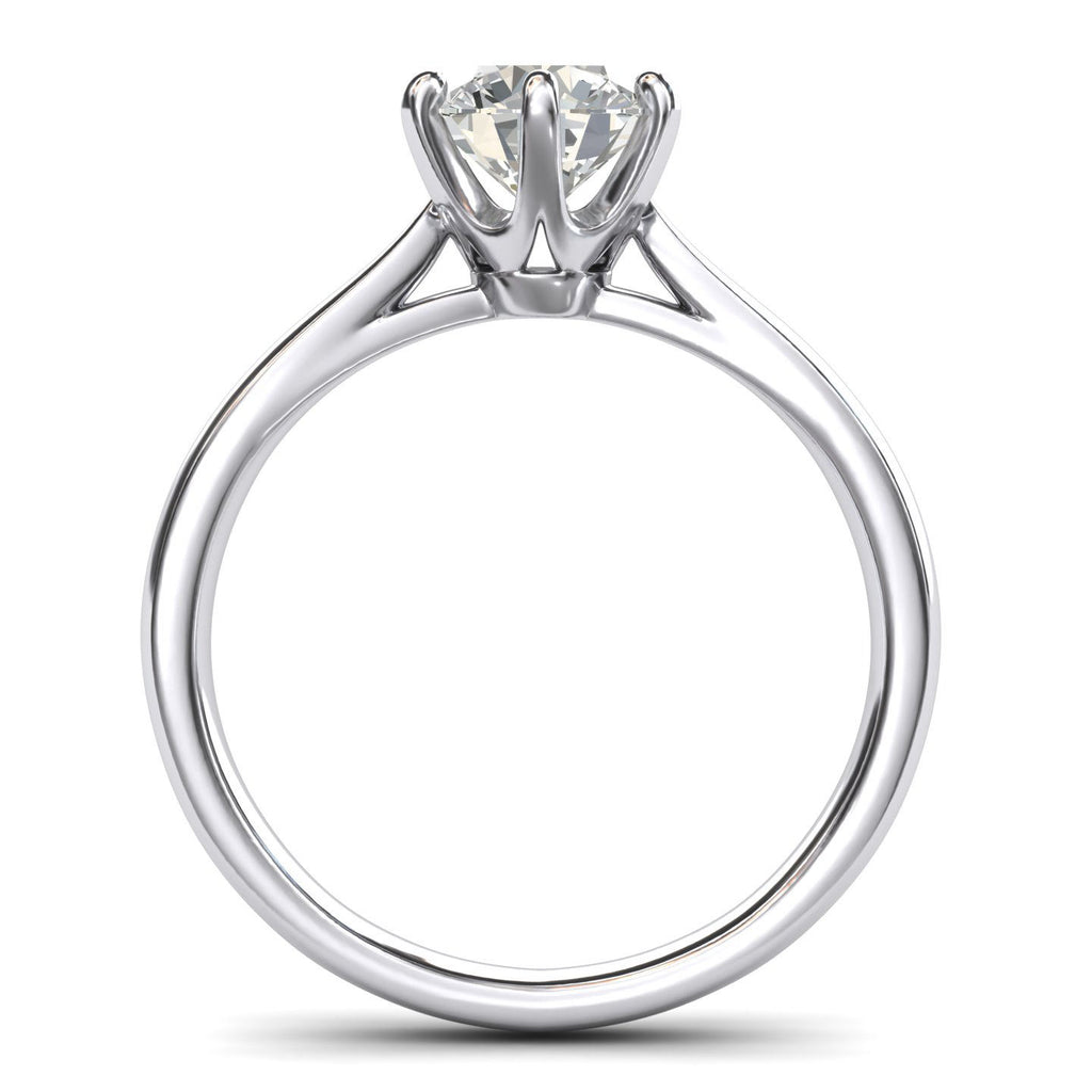 Sterling Silver 2.0 CT Classic 6-Prong Solitaire Simulated Diamond Engagement Ring Promise Bridal Wedding Ring