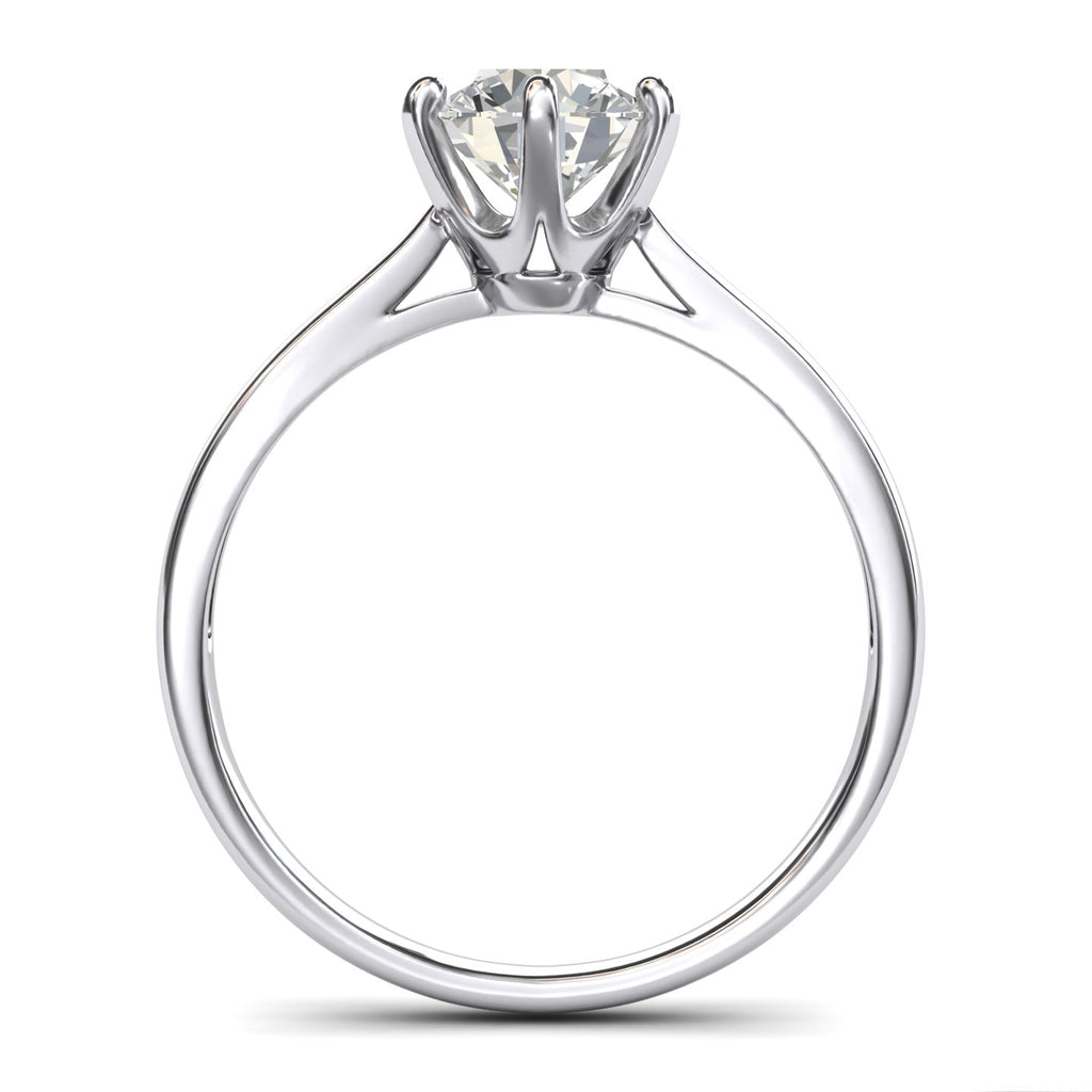 Pure 10k white gold 2.0 CT Classic 6-Prong Solitaire Simulated Diamond Engagement Ring Promise Bridal Wedding Ring