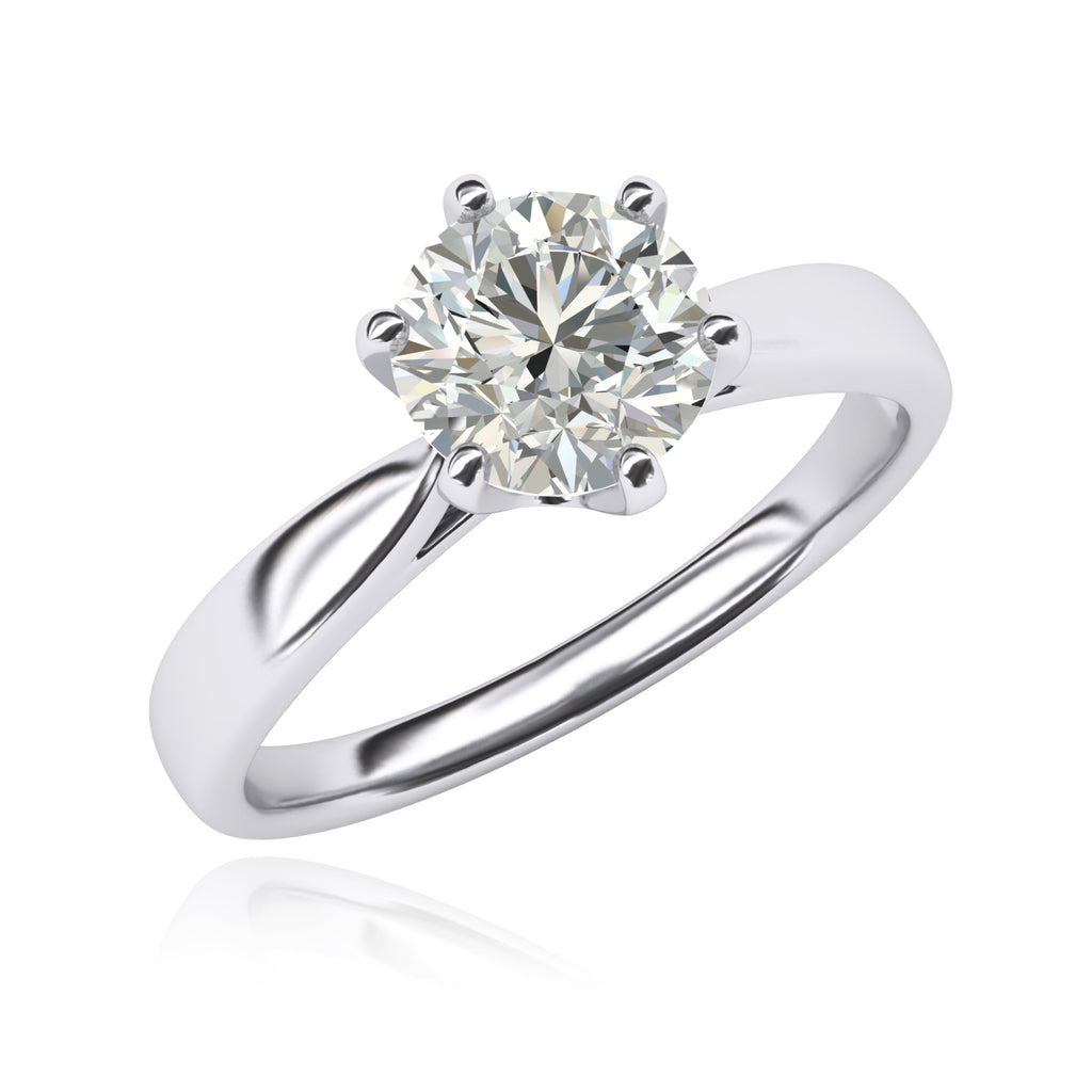 Pure 14k white gold 2.0 CT Classic 6-Prong Solitaire Simulated Diamond Engagement Ring Promise Bridal Wedding Ring
