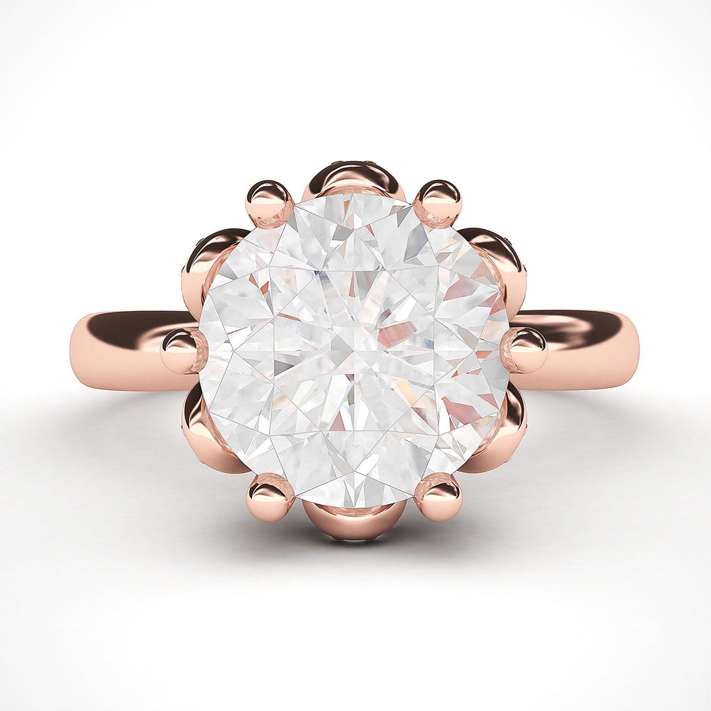 14k Rose Gold Romantic Flower Style 6-Prong Set 2.0 CT Simulated Diamond Engagement Ring