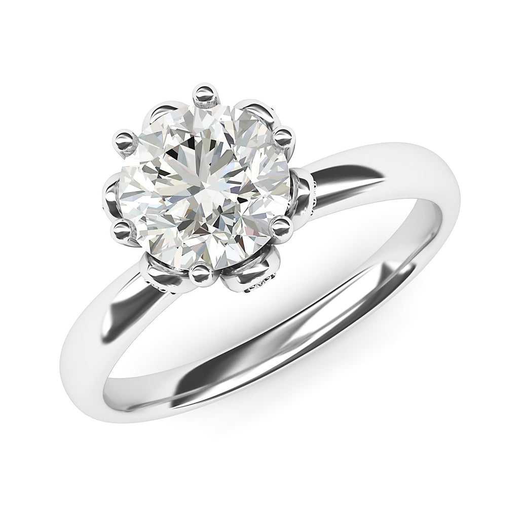 14k White Gold Romantic Flower Style 6-Prong Set 2.0 CT Simulated Diamond Engagement Ring