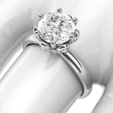 10k White Gold Romantic Flower Style 6-Prong Set 2.0 CT Simulated Diamond Engagement Ring