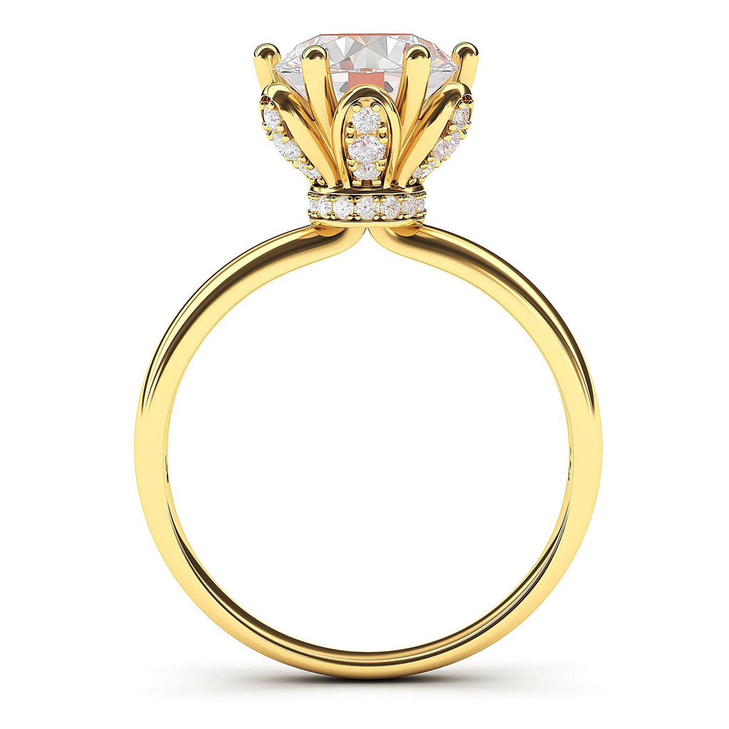 14k Yellow Gold Romantic Flower Style 6-Prong Set 2.0 CT Simulated Diamond Engagement Ring