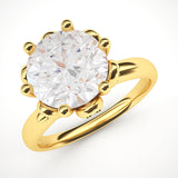 10k Yellow Gold Romantic Flower Style 6-Prong Set 2.0 CT Simulated Diamond Engagement Ring