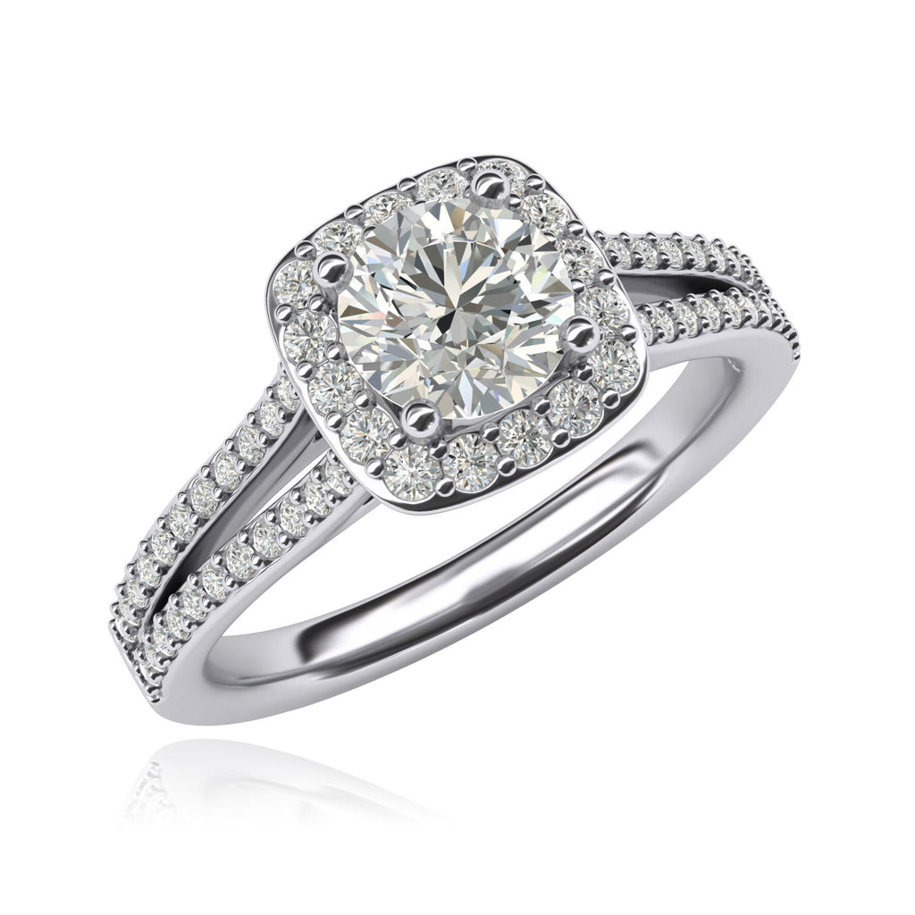 Women Solid Sterling Silver 1.0ctw Simulated Brilliant Round Diamond Engagement Ring Cushion Shape Halo Split Shank