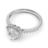 Sterling Silver Simulated Heart-shaped Diamond Halo Engagement Ring with Side Stones Promise Bridal Ring
