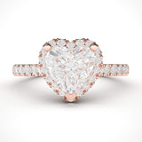 14k Rose Gold Simulated Heart-shaped Diamond Halo Engagement Ring with Side Stones Promise Bridal Ring