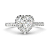 14k White Gold Simulated Heart-shaped Diamond Halo Engagement Ring with Side Stones Promise Bridal Ring