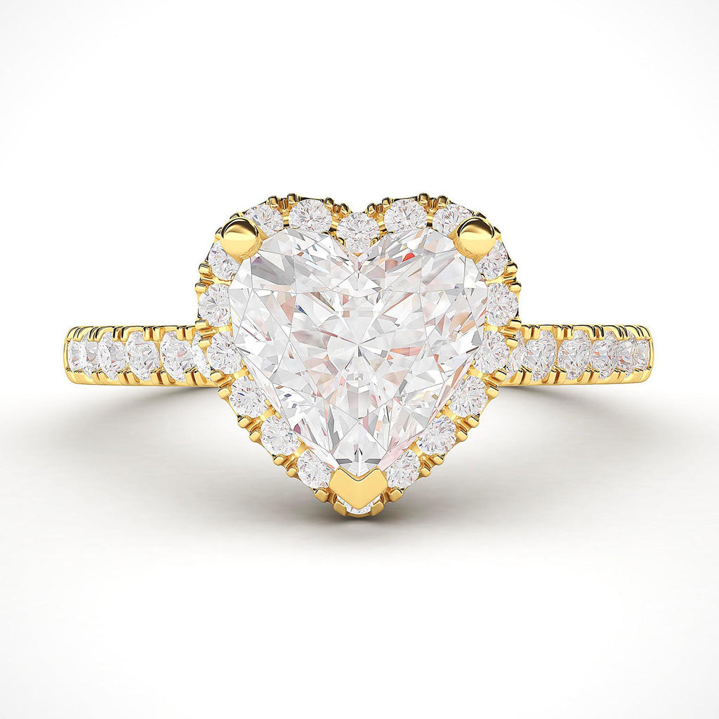10k Yellow Gold Simulated Heart-shaped Diamond Halo Engagement Ring with Side Stones Promise Bridal Ring