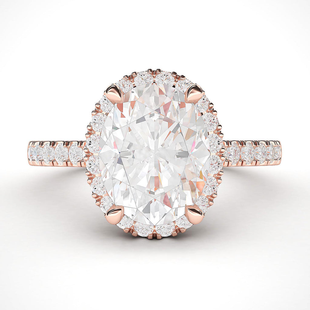 14k Rose Gold Simulated Oval Cut Diamond Halo Engagement Ring with Side Stones Promise Bridal Ring