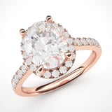 10k Rose Gold Simulated Oval Cut Diamond Halo Engagement Ring with Side Stones Promise Bridal Ring