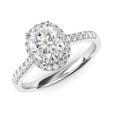 14k White Gold Simulated Oval Cut Diamond Halo Engagement Ring with Side Stones Promise Bridal Ring