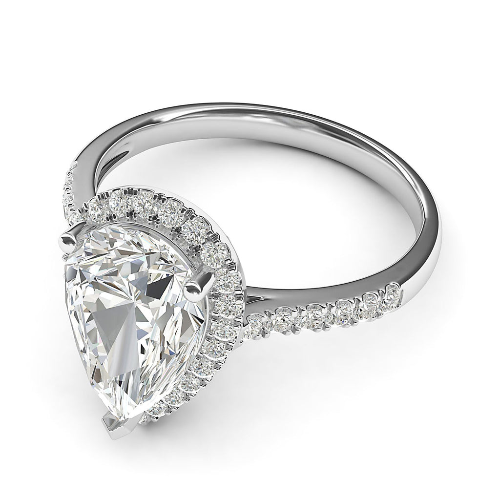 Sterling Silver Simulated Pear-Shaped Diamond Halo Engagement Ring with Side Stones Promise Bridal Ring