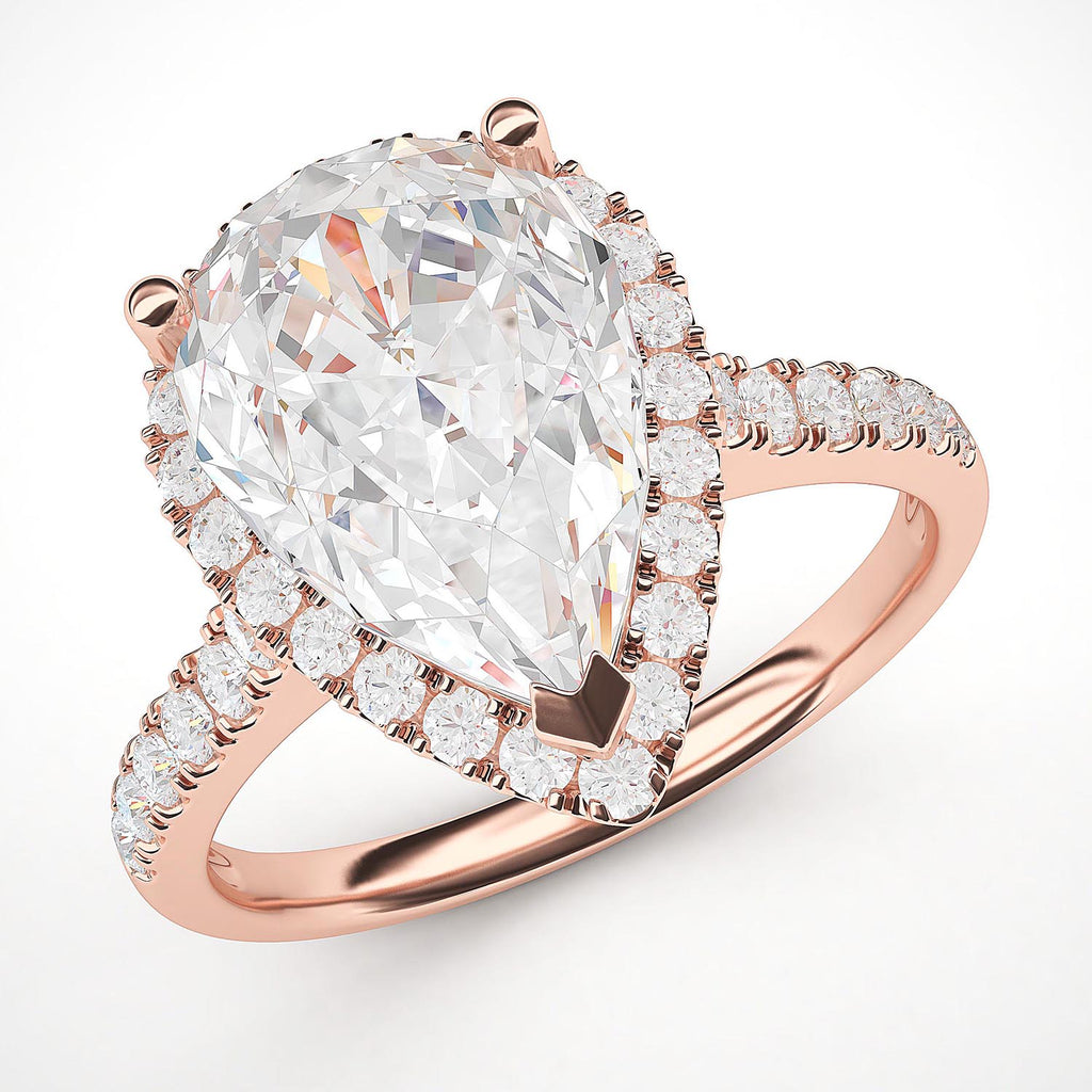 14k Rose Gold Simulated Pear-Shaped Diamond Halo Engagement Ring with Side Stones Promise Bridal Ring