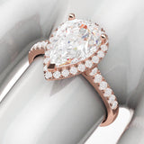 10k Rose Gold Simulated Pear-Shaped Diamond Halo Engagement Ring with Side Stones Promise Bridal Ring