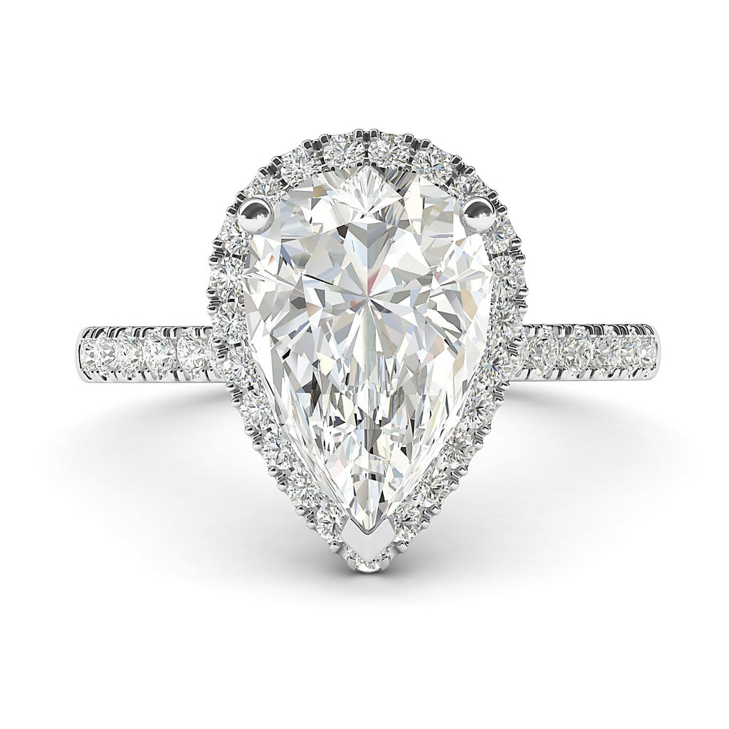 14k White Gold Simulated Pear-Shaped Diamond Halo Engagement Ring with Side Stones Promise Bridal Ring