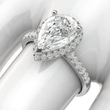 10k White Gold Simulated Pear-Shaped Diamond Halo Engagement Ring with Side Stones Promise Bridal Ring